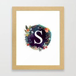 Personalized Monogram Initial Letter S Floral Wreath Artwork Framed Art Print