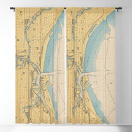 Vintage Map of Milwaukee WI (1947) Blackout Curtain