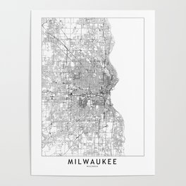 Milwaukee White Map Poster