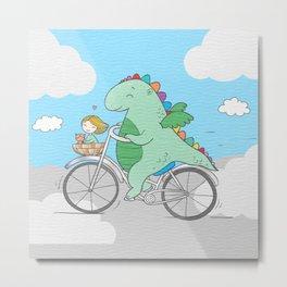 Chibi Dragon on Bicycle with Girl Metal Print