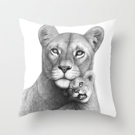 Lioness with a baby Throw Pillow