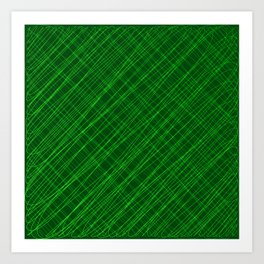 Cross ornament of their green threads and iridescent intersecting fibers. Art Print