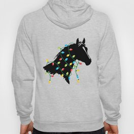 Horse Tangled Up In Colored Christmas Lights Holiday Design Hoody