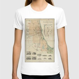 Vintage Map of Chicago Illinois (1889) T-shirt