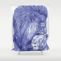 lions Shower Curtains featuring Lions by Rafael Augusto