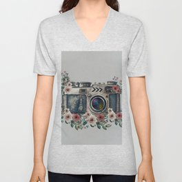 Camera with Summer Flowers Unisex V-Neck