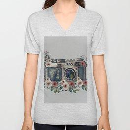 Camera with Summer Flowers Unisex V-Neck