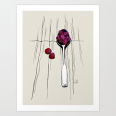 raspberry on spoon by carographic Art Print