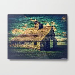 Barn With Digtal Wooden Texture Metal Print