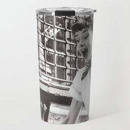 Audrey Hepburn, fashion print, vintage photography Travel Mug