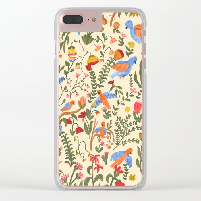 Tropical Garden Pattern Clear iPhone Case