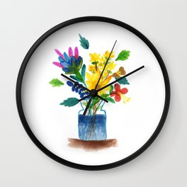 Bunch of flowers in the glass pot Wall Clock