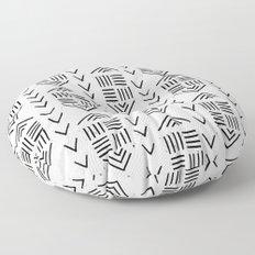 mudcloth 7 minimal textured black and white pattern home decor minimalist Floor Pillow