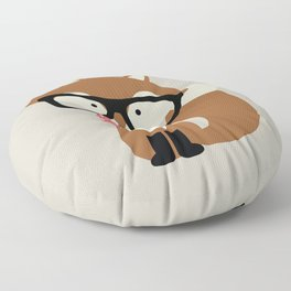 Glasses and Bow Tie Hipster Brown Fox Floor Pillow