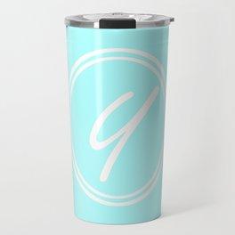 Monogram - Letter Y on Celeste Cyan Background Travel Mug