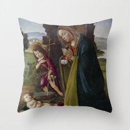"Sandro Botticelli ""Adoration of Christ with Saint John"" Throw Pillow"