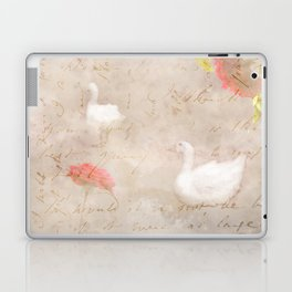 Geese, clouds, roses, vintage calligraphy Laptop & iPad Skin