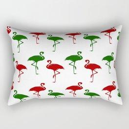 Flamingos Christmas Pattern Red Green Rectangular Pillow