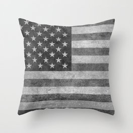 Stars and Sripes in retro style grayscale Throw Pillow