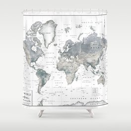 The World [Black and White Relief Map] Shower Curtain