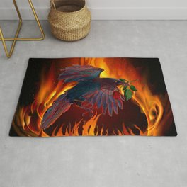 Raven Fire with Rose Rug