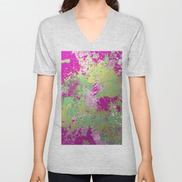 Metallic Pink Splatter Painting - Abstract pink, blue and gold metallic painting Unisex V-Neck