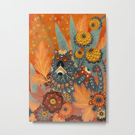 Foliage Cat Metal Print