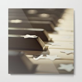 Piano key and stars. Metal Print