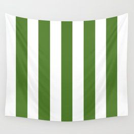Sap green - solid color - white vertical lines pattern Wall Tapestry