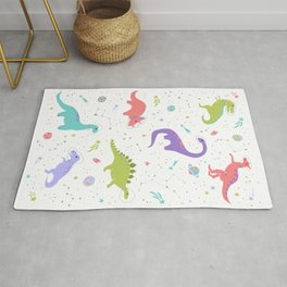 Space Dinosaurs on White Rug