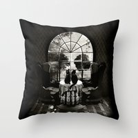 ali Throw Pillows featuring Room Skull B&W by Ali GULEC