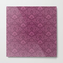 Damask in Maroon Metal Print