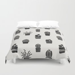 Southwestern Stamped Potted Cactus + Succulents Duvet Cover