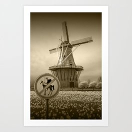 Sepia Toned No Tilting at the Windmills with Don Quixote Sign and Windmill Art Print