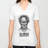 clint eastwood V-neck T-shirts featuring CLINT EASTWOOD  by Ani Dvaladze