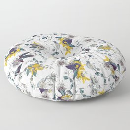 White Garden. Floral Pattern. Yellow Flowers. Floor Pillow