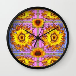 Decorative Sunflowers Blue-Pink Abstract Nature Pattern Wall Clock