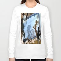 volleyball Long Sleeve T-shirts featuring Anyone For Volleyball? by Tami Cudahy