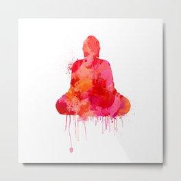 Red Buddha Watercolor art Metal Print