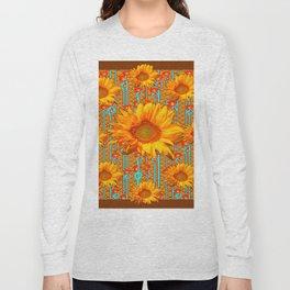Coffee Brown Sunflower Pattern Orange & Turquoise Long Sleeve T-shirt
