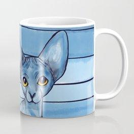 Blue Watercolor Sphynx Cat Coffee Mug