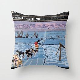 Vintage Poster - Iditarod National Historic Trail, Alaska (2018) Throw Pillow