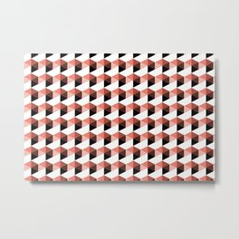 Pantone Living Coral Hexagon, Cube Pattern Optical Illusion Metal Print