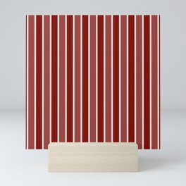 Vintage New England Shaker Village Milk Paint Barn Red Large Vertical Bedding Stripe Mini Art Print