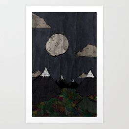 Moon Mountsins Art Print