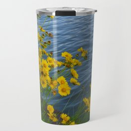 Yellow Flowers by the Water Travel Mug