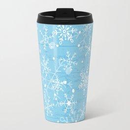 Snowflakes on Blue Wood Travel Mug
