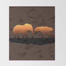 Elephant Sunset Throw Blanket