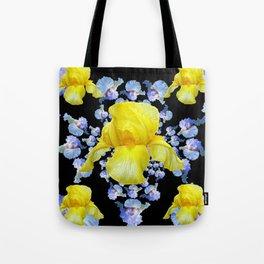 YELLOW & BLUE-WHITE IRIS BLACK ABSTRACT PATTERN Tote Bag