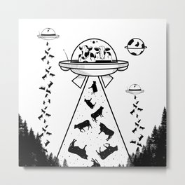 Alien cow abduction Metal Print